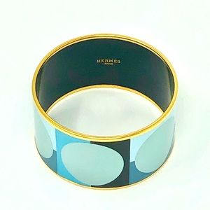 Hermès Deco Dot Extra Wide Enamel Bangle Blue/Gold